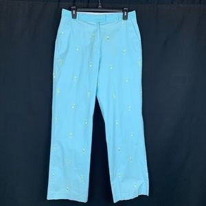 Lilly Pulitzer Cotton Turquoise Pants. Size 10.
